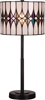 Tiffany Style Banker Table Lamp Stained Glass White Black Blue Brown Modern Lighting Desk Bedroom End Table Setting Living Room Bedside Reading Night Light Office 20 x 10 inch Iron Tall Small Cylinder