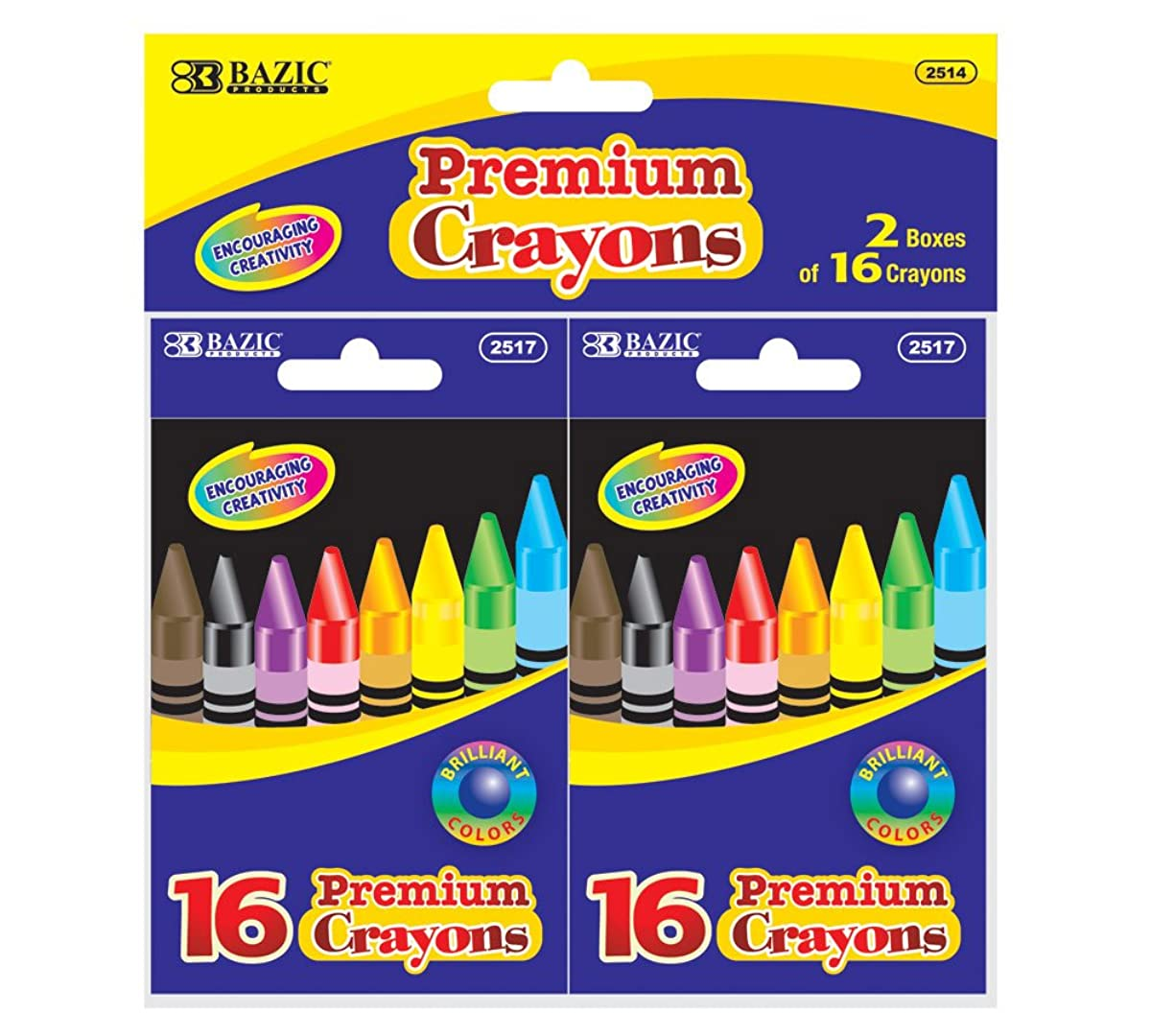 BAZIC 16 Color Premium Quality Crayon (2/Pack) (Case of 24)