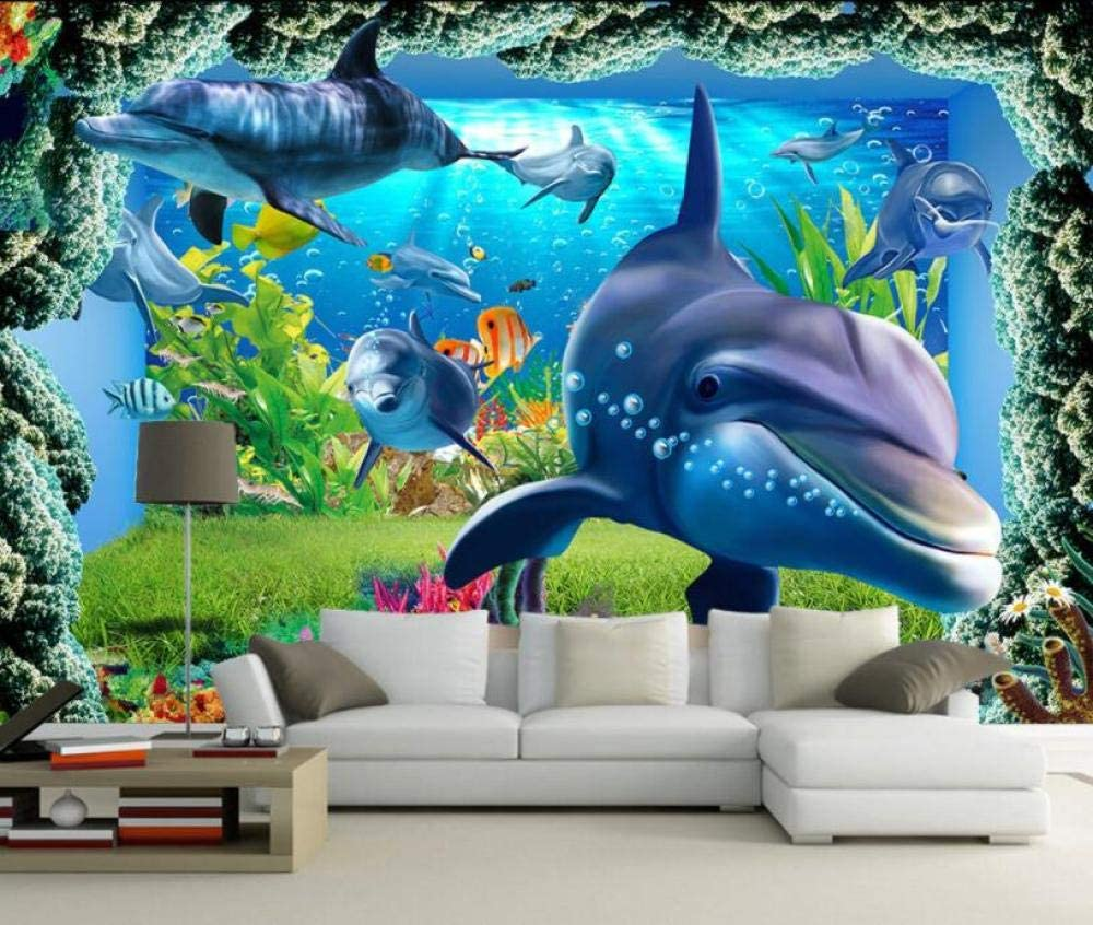3D Tv Sofa Background Wall Fish Tank Underwater World Coral Reef Fish School Seascape Tv Background Wall-200Cmx140Cm