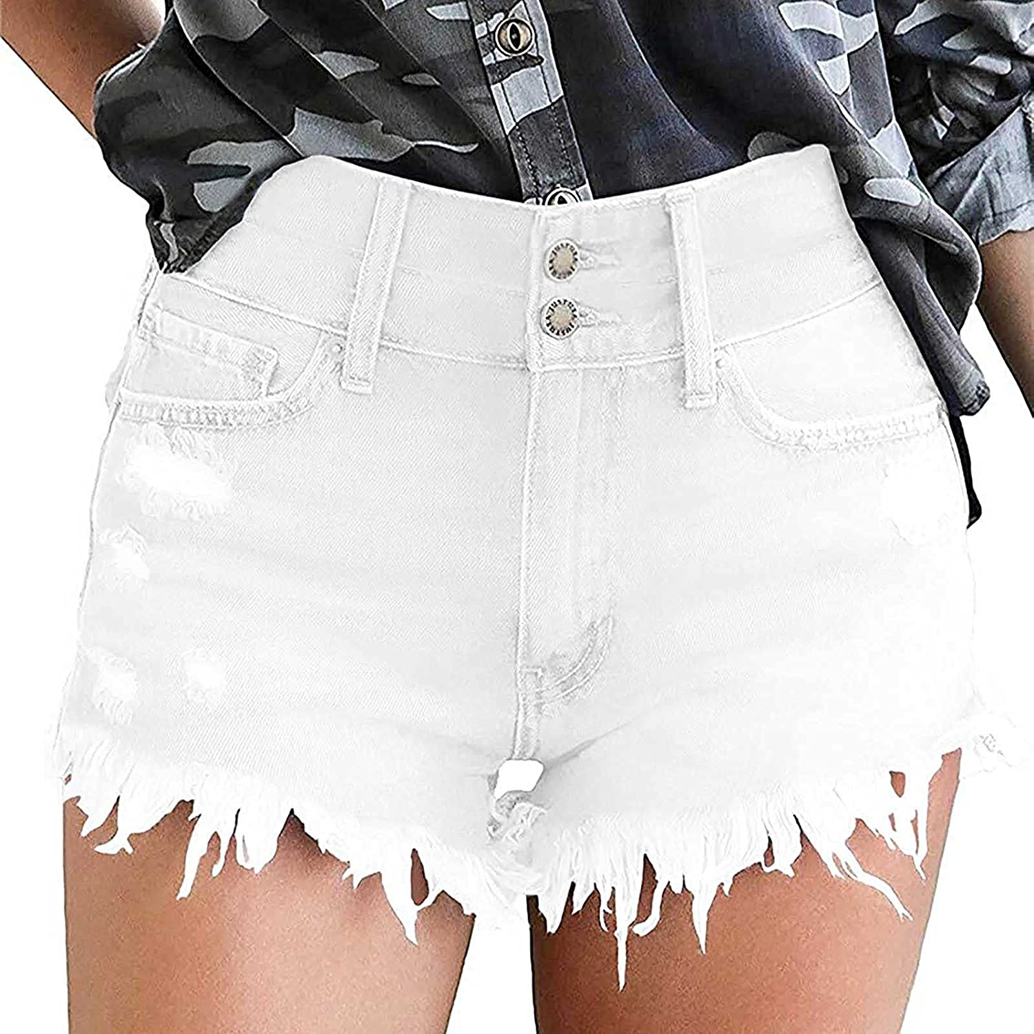 VonVonCo Ripped Jeans Shorts for Women Casual Denim Shorts Pants Frayed Jean Cut Off Short Hot Jeans