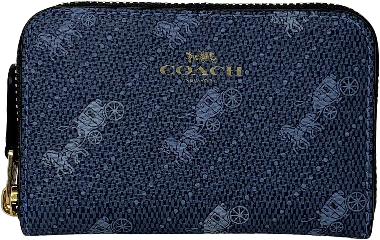Coach Horse and Carriage Zip Around Case C4 No. Card Style Denim Trust OFFicial