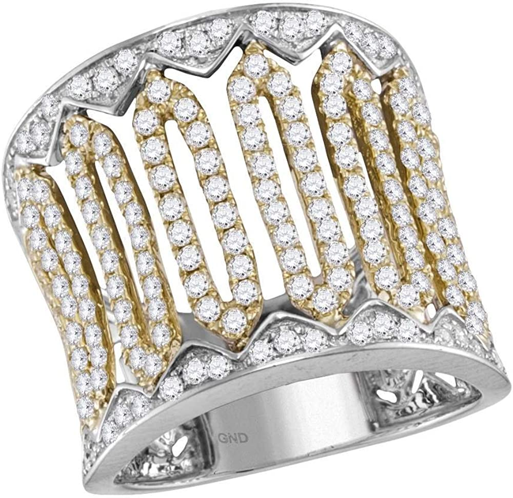 Jewels By Lux 70% OFF Outlet 14kt Two-Tone White Diamond Round Womens Gold Cock Bargain sale