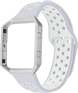 UMAXGET Compatible with Fitbit Blaze Bands, Soft Breathable Silicone Sport Band with Silver Metal Frame Smart Watch Wristband for Men Women, Small Large
