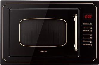 Klarstein Victoria 25 - Microondas, Diseño retro, 25 litros, Microondas de 900 W/Función grill de 1000 W, 2 modos predeterminados, Acero inoxidable, Incluye marco para montaje, Negro