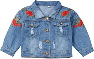 Kids Toddler Baby Girls Denim Jacket Flower Embroidery Long Sleeve Ripped Jean Coat Outwear Fall Clothes