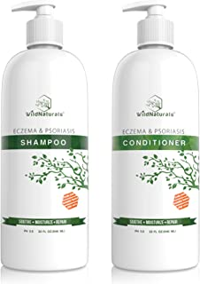 Wild Naturals Eczema Psoriasis Shampoo - Conditioner Set 32oz, 98% Natural, 80% Organic, Sulfate Free, Soothing Anti Dandruff, Flaky, Itchy, Dry Scalp Treatment for Seborrheic Dermatitis, Damaged Hair
