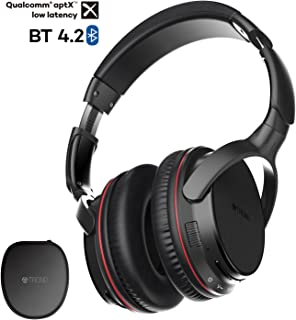 TROND Bluetooth V4.2 Headphones Wireless with Mic Over Ear, Lightweight, 30H Playtime, APTX Low Latency, LED Codec Indicator, for PC/Cell Phones/TV (Bluetooth Transmitter NOT Included)