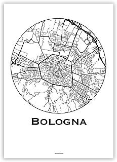 Poster Bologna Italia del nord Minimalista Mappa - Mappa della città, manifesto di Bologna, stampa d'arte