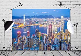 BELECO 7x5ft City Night Landscape Backdrop Skyline from Victoria Peak at Dusk Phtography Backdrop for Party Decoration Birthday Kids Boy Photoshoot Photo Background Props