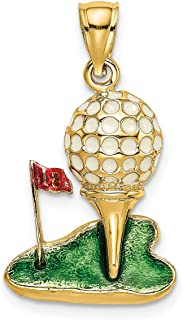 Lex & Lu 14k Yellow Gold w/Enamel and 2D Golf Ball Charm