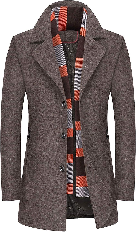 CHARTOU Men's Fashion Detachable Plaid Scarf 爆安 Button 安い Front Wool B