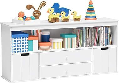 Timy Toy Storage Organizer with 2 Drawers, Wooden Toy Organizer Bins, Kids Bookshelf for Reading, Storing, Playing, White