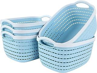 STARVAST 5 Pcs Paniers de Rangement en Plastique, Boîtes de Rangement de Bureau, Panier de Réfrigérateur Tisser Incurvée e...