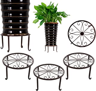 3 Pack Metal Potted Plant Stands with Saucer for Indoor and Outdoor Plants 9 inches Flower Pot Planter Holder, Bronze Color