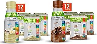 Vega Protein Shakes Ready to Drink, Chocolate + Vanilla Bundle (2x12 Count)- Plant Based Vegan Nutrition Shake with Veggie...