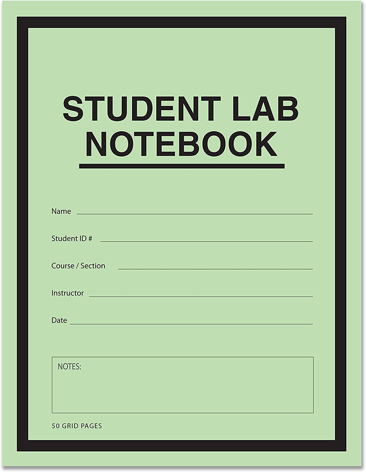 """BookFactory Student Lab Notebook (Scientific Grid Format) 8.5"""" x 11"""" - 50 Pages (1 Pack) Saddle-Stitched - Green Cover (LAB-050-7GSS (Lab Notebook)) : Science Laboratory Notebooks : Office Products"""