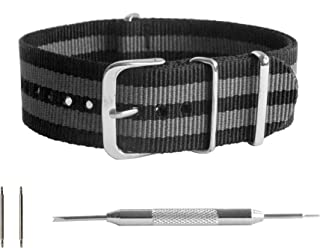 Best NATO Strap - Waterproof Ballistic Nylon Watch Band for Men & Women - Choice of Color & Width - 18mm, 20mm, 22mm or 24mm Review