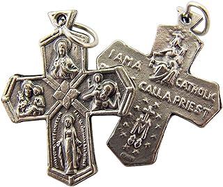 Silver Toned Base I Am Catholic 4 Way Cross Crucifix Pendant, 1 1/8 Inch