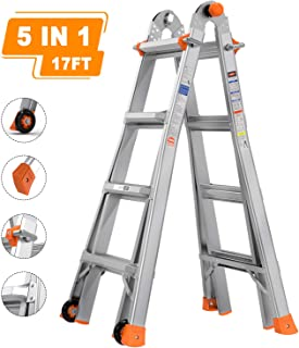 TACKLIFE Extension Ladder, 5 in 1 Ladder, 17 Feet Aluminum Telescoping Ladder with 2 Flexible Wheels, Non-Slip Rubber Feet, Safe Protective Switch, 300lb Load Capacity