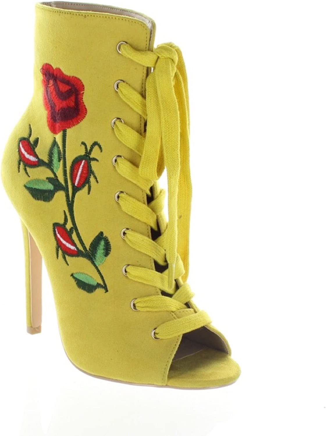 Mona Mia Embroidered Floral pink Lace Up Ankle Boot - Mustard Yellow