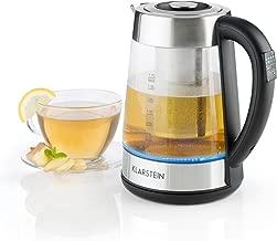 Klarstein Ostfries Hervidor de agua 2 en 1 - Tetera eléctrica , Colador de té , 1,7 litros , 2200 W , Preparación bebidas , Regulable , LED , Acero inoxidable y Cristal