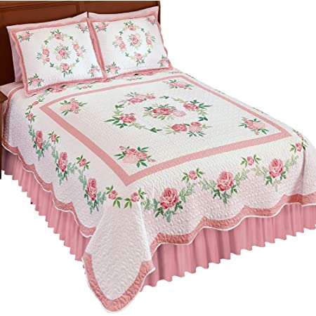 Collections Etc Hadley Floral Patchwork Reversible Lightweight Quilt Rose King Home Kitchen