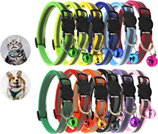 Yesland 12 Pcs Cat Collar with Bell, Reflective & Adjustable Breakaway Mixed Colors Safe Nylon Collars for Cats or Small Dogs