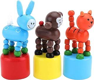Kisangel 4pcs Animal Swing Toy Wooden Monkey Tiger Donkey Push Puppet Dance Toy Swing Dancing Body Desktop Toys Cartoon Fi...