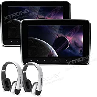 XTRONS 10.1 Inch Dual Car DVD Player Portable Car Headrest CD Players for Kids with 2 White Wireless Headphones Supports H...