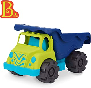"B. Toys – Colossal Cruiser – 20"" Large Sand Truck – Beach Toy Dump Trucks for Kids 18 M+ (Lime/Navy)"