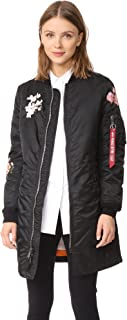 Women's MA-1 Long Souvenir Illusion Bomber Jacket
