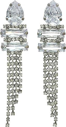 CZ/Crystal Cupchain Fringe Earrings