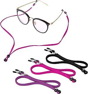 Sports PU Leather Glasses Strap, Zingso 3 Pcs Multi-Color Classic PU Leather Adjustable Eyewear Sunglasses Head Band Eyegl...