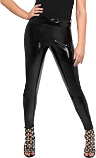 Pantalón Mujer Cintura Alta Vestir Negro Shinny Tallas Grandes Vinilo