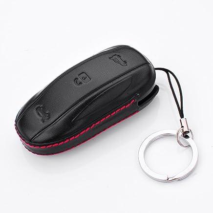 [M.JVisun] Leather Key Fob Case For Men Women Genuine Leather Key Fob Cover For Tesla Model S Tesla Model X Key, Car Remote Key Pouch Bag With Key Rings Kit Key Chain Keychain Holder Metal Hook (For Tesla Model X)