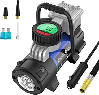 Mbrain Portable Air Compressor Pump - Upgraded DC 12V Small Digital Car Tire Inflator with Gauge 120 PSI
