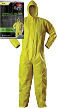 Venom Steel Disposable Chemical Splash Industrial Coverall, Hooded, Elastic Wrist and Ankles, Yellow, L/XL