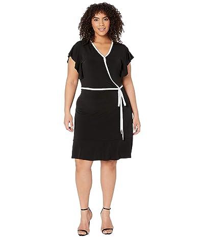 MICHAEL Michael Kors Plus Size Solid Wrap Piping Dress (Black) Women