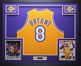 Kobe Bryant Autographed Gold Lakers Jersey - Beautifully Matted and Framed - Hand Signed By Kobe Bryant and Certified Authentic by PSA COA - Includes Certificate of Authenticity