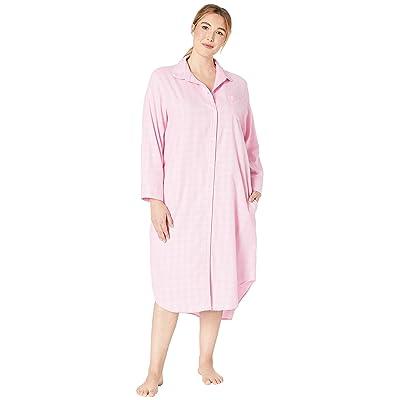 LAUREN Ralph Lauren Plus Size Long Sleeve Rounded Collar Ballet Sleepshirt (Pink Plaid) Women