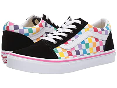 Vans Kids Old Skool (Little Kid/Big Kid) ((Checkerboard) Rainbow/True White) Girls Shoes