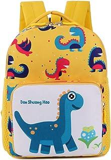 Mochila Infantil para Guardería Bolsa de Dibujos de Dinosaurio en 3D Linda para Niñas Niños Pequeños 1-6 Años Mochila Multifuncional para Viajes Lienzo Amarillo