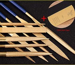 10 PCS Titanium Coated Diamond Needle File Set for Guitar Frets Soft Metal Wood and Plastic(140MM, Gloden)