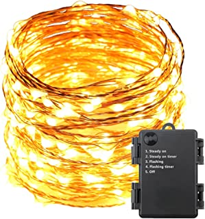 ErChen Battery Operated 40 FT 240 Led Fairy Lights, Waterproof Copper Wire Decorative LED String Lights with Timer for Indoor Outdoor Garden Patio Christmas Wedding (Warm White)