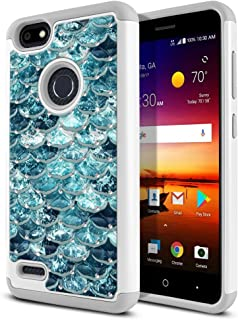 FINCIBO Case Compatible with ZTE Blade X Z965, Dual Layer Shock Proof Hybrid Protector Case Cover TPU Sparkle Rhinestone Bling for Blade X Z965 - Mermaid Scales Blue Wave
