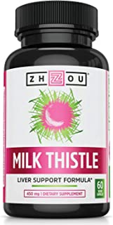 Zhou Milk Thistle Standardized Silymarin Extract for Maximum Liver Support | Detox, Cleanse & Maintain | 60 Tablets