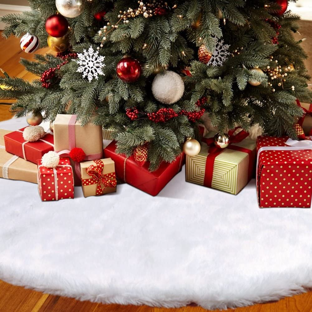 Hooqict Los Angeles Mall Faux Fur Tree Cheap bargain Skirt Christmas Inches White 48