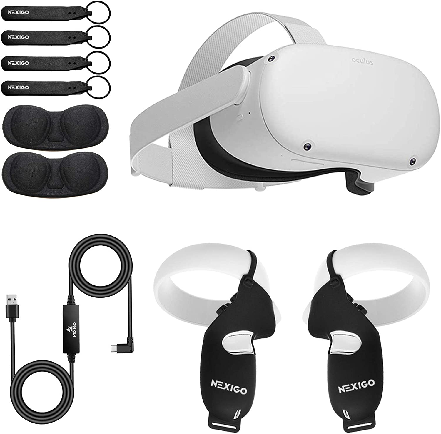 Oculus 2021 Quest 2 VR 256GB Holiday Bundle, Advanced All-in-One Virtual Reality Gaming Headset, NexiGo Controller Grip Cover Black + Knuckle Strap Black + Lens Cover + 16FT Link Cable Bundle