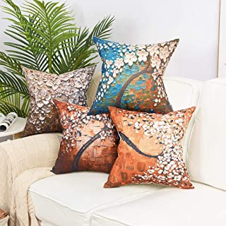 YINNAZI Lucky of Tree Pattern Farmhouse Decor Square Linen Cotton Throw Pillow Cover Oil Painting Cushion Cover Pillowcase for Couch 18 x 18 Inch Set of 4 (Size1)