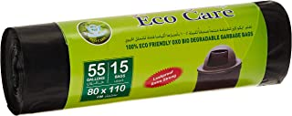 Eco Care Black Garbage Bag Roll - 15 Count, 55 Gallons, 80x110 cm